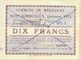 Banknoten Méricourt (62). Commune. Billet. 10 francs , émission 1915, série G, Bon annulé ...