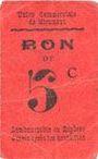 Banknoten Miramont (31). Union Commerciale. Billet. 5 centimes