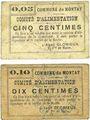 Banknoten Montay (59). Commune. Comité d'alimentation. Billets. 5 centimes, 10 centimes