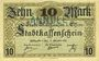 Banknoten Mulhouse (68). Ville. Billet 10 mark 15.10.1918. Annulation à l'avers par cachet « ANNULÉ »