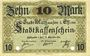 Banknoten Mulhouse (68). Ville. Billet 10 mark 15.10.1918. Annulé par double perforation