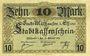 Banknoten Mulhouse (68). Ville. Billet 10 mark 15.10.1918. Non annulé