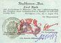 Banknoten Mulhouse (68). Ville. Billet 2 mark 31.8.14 surchargé 2. Cachet all. nouveau noir. Signature Woeffl