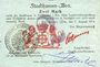 Banknoten Mulhouse (68). Ville. Billet 2 mark 31.8.14 surchargé 2. Cachet all. nouveau noir. Signé J.Hunte(?)