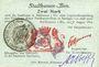 Banknoten Mulhouse (68). Ville. Billet 2 mark 31.8.14 surchargé 2. Cachet allemand ancien noir. Signé Woeffl