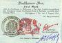 Banknoten Mulhouse (68). Ville. Billet 2 mark 31.8.14 surchargé 2. Cachet allemand nouveau noir. Signé Woeffl