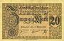 Banknoten Mulhouse (68). Ville. Billet 20 mark 15.10.1918. Annulation au revers par cachet « ANNULÉ »
