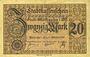 Banknoten Mulhouse (68). Ville. Billet 20 mark 15.10.1918. Non annulé