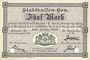 Banknoten Mulhouse (68). Ville. Billet 5 mark 10.9.1914. Annulé par double perforation