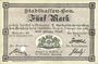 Banknoten Mulhouse (68). Ville. Billet 5 mark 10.9.1914. Annulé par perforation