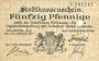 Banknoten Mulhouse (68). Ville. Billet 50 pfennig 27.01.1917. Annulé par perforation