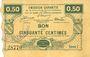 Banknoten Neuville-en-Avesnais (59). Pour les Maires des Communes adhérentes. Billet. 50 centimes, série 1