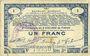 Banknoten Pas de Calais, Somme et Nord, Groupement de 70 communes. Billet. 1 franc 23.4.1915 série 3D