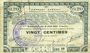 Banknoten Pas de Calais, Somme et Nord, Groupement de 70 communes. Billet. 20 centimes 23.4.1915 série 1B