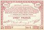 Banknoten Pas de Calais, Somme et Nord, Groupement de 70 communes. Billet. 20 francs  23.4.1915 série 6