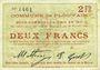 Banknoten Plouvain (62). Billet. 2 francs 10.2.1915, annulé