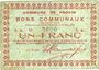 Banknoten Provin (59). Commune. Billet. 1 franc 11.3.1915