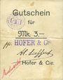 Banknoten Ribeauvillé (Rappoltsweiler) (68). Hofer & Cie. Billet, carton. G de Gutschein enroulé. 3 mark