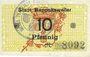 Banknoten Ribeauvillé (Rappoltsweiler) (68). Ville. Billet. 10 pfennig (1917)