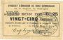 Banknoten Rimogne (08). Syndicat d'Emission. Billet. 25 centimes 26.4.1917, série U2