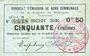 Banknoten Rimogne (08). Syndicat d'Emission. Billet. 50 centimes 20.2.1916, série B