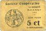 Banknoten Roanne (42). Société Coopérative La Solidarité. Billet. 5 centimes