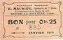 Banknoten Roche-la-Molière (42). Pharmacie Moderne C. Maurice. Billet. 25 centimes 30.7.1918, N° 885