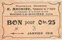 Banknoten Roche-la-Molière (42). Pharmacie Moderne C. Maurice. Billet. 25 centimes 8.5.1918, N° 3