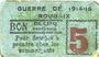 Banknoten Roubaix (59). Billet. 5 centimes, armoiries (5 mm)