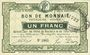 Banknoten Roubaix et Tourcoing (59). Billet. 1 franc, 2e série. N° 1065