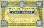 Banknoten Roubaix et Tourcoing (59). Billet. 20 francs 16.12.1916, 9e série. N° 7008