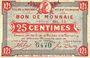 Banknoten Roubaix et Tourcoing (59). Billet. 25 centimes, série BL 14