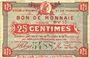 Banknoten Roubaix et Tourcoing (59). Billet. 25 centimes, série BV 13
