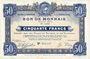Banknoten Roubaix et Tourcoing (59). Billet. 50 francs du 12.8.1916, 8e série. N° 5214