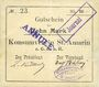Banknoten Saint-Amarin. Konsumverein. Billet. 10 mark (22.9.1914). Sign.. : L. Vuillard et Eug Kühner. Avec Fi