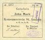 Banknoten Saint-Amarin. Konsumverein. Billet. 10 mark (22.9.1914). Signatures. : L. Vuillard et E Kühner. + Fi