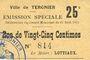 Banknoten Tergnier (02). Ville. Emission spéciale. Billet. 25 centimes, sans signature