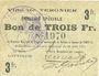 Banknoten Tergnier (02). Ville. Emission spéciale. Billet. 3 francs