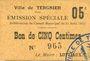 Banknoten Tergnier (02). Ville. Emission spéciale. Billet. 5 centimes, sans signature
