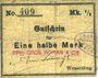 Banknoten Wesserling. Cros Roman & Cie. Billet. ½ mark. Annulé