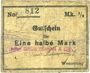 Banknoten Wesserling. Cros Roman & Cie. Billet. ½ mark. Non annulé