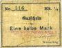 Banknoten Wesserling. Cros Roman & Cie. Billet. ½ mark. Sans cachet ovale de la firme. Non annulé