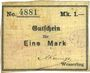 Banknoten Wesserling. Cros Roman & Cie. Billet. 1 mark. Annulé