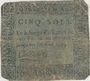 Banknoten Dijon. Billet de 5 sols n. d.