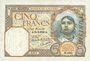Banknotes Tunisie. Billet. 5 francs, type 1924, du 28.2.1939