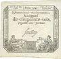 Banknotes Assignat. 50 sols. 23 mai 1793. Signature : Saussay