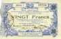 Banknotes Aisne, Ardennes et Marne - Bon régional. Hirson. Billet. 20 francs 14.6.1917, série 1