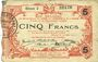 Banknotes Aisne, Ardennes et Marne - Bon régional. Hirson. Billet. 5 francs 14.6.1917, série 2