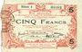 Banknotes Aisne, Ardennes et Marne - Bon régional. Hirson. Billet. 5 francs 14.6.1917, série 4