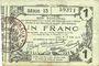 Banknotes Aisne, Ardennes et Marne - Bon régional. Laon. Billet. 1 franc 16.6.1916, série 13